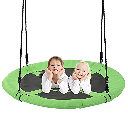 Tree Swings for Kids Outdoor , 40 Inch Diameter 600lb Weight & Adjustable Hanging Ropes Tree Swings , Great for Playground Swing, Backyard and Playroom(Green)
