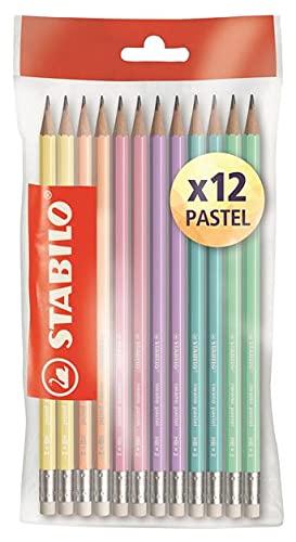 STABILO Matite Grafite HB, con Gommino, 6 Colori Pastel, conf. 12 pezzi