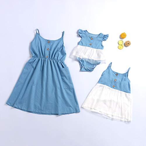 lyj Ropa para padres e hijos a juego con chaleco de mamá e hija con correa italiana con botón de bolsillo, ropa de familia (tamaño: Adlut S)