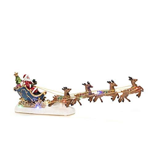 KONSTSMIDE Luci di Natale 'Santa in slitta con renna' Decorazione di Natale Ornamento Decorazione/Funzionamento a batteria: 3xAAA (escluso)/Scena di Natale Diodi Multi Colorati