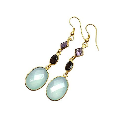 Sitara Collections SC10339 Gold-Plated Aqua Chalcedony and Amethyst Drop Earrings by Sitara Collections