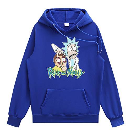 YUYUBAOER T-Shirt à Capuche à Capuche 3D de Rick and Morty, Sweats à Manches Longues à Manches Longues de Grande Taille T-Shirt Tee Shirtstrain Blue-M