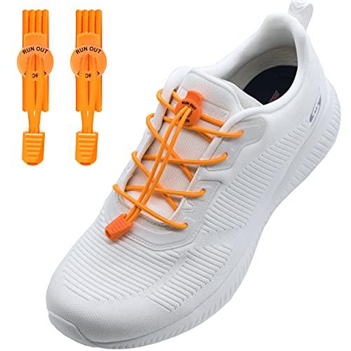 Run out sports elastische Schnürsenkel ohne binden - Schnellschnürsystem 120cm - Schuhbänder elastisch mit Schnellverschluss - für Kinder und Erwachsene (Neon-Orange)