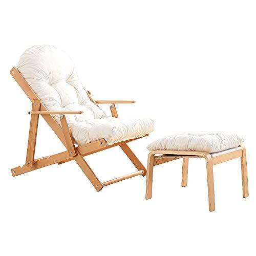 Axdwfd Zero Zwaartekrachtstoel, houten opklapbare ligstoel, 3 hoeken, verstelbaar, opklapbare ligstoel, balkonstoel, tuinstoel, zonnebank met kussens en voetensteun