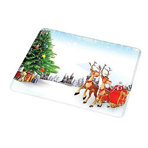 Office Mouse Pad Santa, schneebedecktes Weihnachtsdorf mit Cartoon Santa auf seinem Schlitten Big Tree und Boxen, Multicolorfor Computer