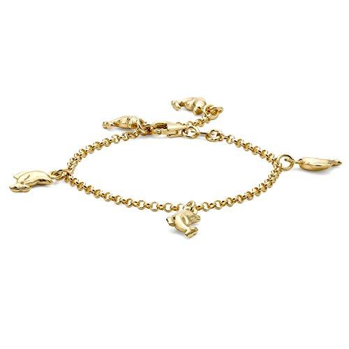 Carissima Gold 9 Karat 375er Gelbgold Delphin Bettelarmband 15cm
