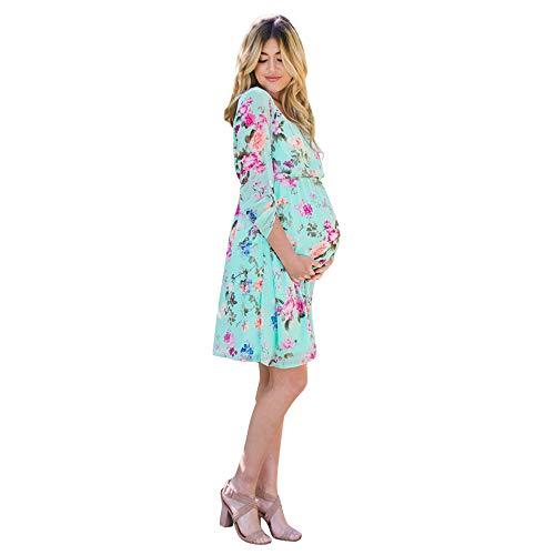 Amphia Amphia - Damen Floral Umstandskleid mit Sieben Ärmeln - Nursing Nightgown der schwangeren Frauen Schwangerschaft Bedruckte Blumenkleidern(Grün,S)