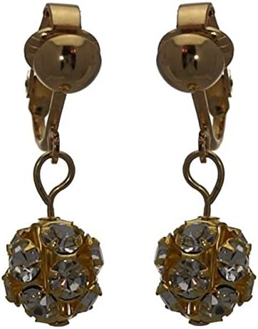 AUDRA 10mm Gold Plated Clear Crystal Clip On Earrings