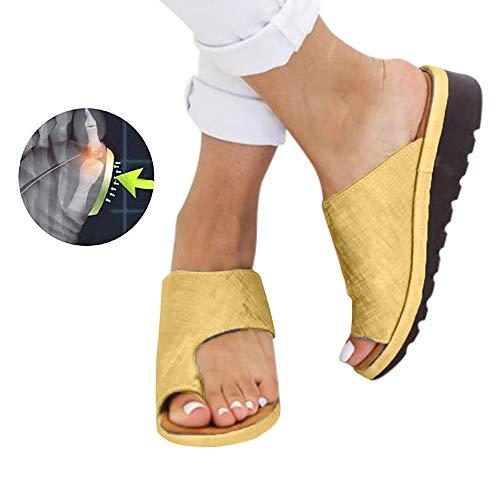 Sandales Plates Femmes Confortables Orthopedique Chaussures Plateforme - 2020 Newest Été Sandales Femmes Sandales Plates Toe T-Sangle Comfy Semi Trailer Sandales Chaussures de Plage (Style H, 38)