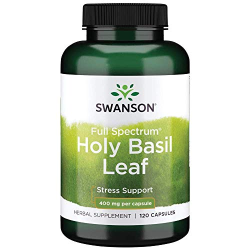 Swanson Holy Basil Leaf (Tulsi) Healthy Response to Stress Support Emotional Well-Being Supplement (Ocimum Sanctum) (800 mg per 2 Capsule Serving) 400 mg 120 Capsules