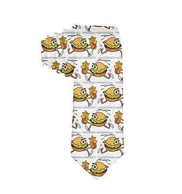 Burger courant drôle de textile de polyester des hommes avec des cravates de frites françaises