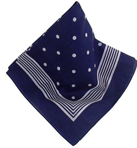 Marine-farbenes Nickituch mit Punkten | Bandana aus 100% Baumwolle | 53 x 53 cm | Halstuch | Teichmann
