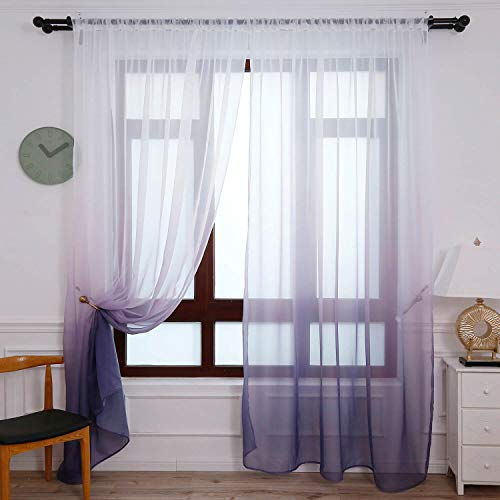 WUBODTI Purple Voile Ombre Sheer Window Curtains Faux Linen Gradient Gauze Curtain Panels for Bedroom Living Room Sliding DoorTulle Window Drapries,40''x79'', 1 Panel