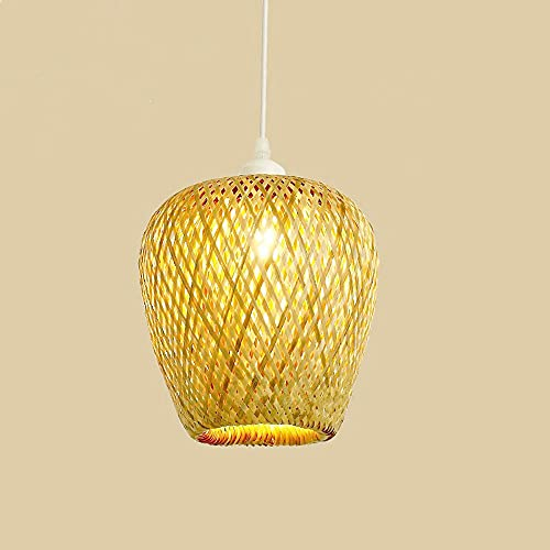 KAIKEA Canasta de ratán de estilo chino, colgante de techo, pantalla de luz, cúpula de bambú, lámpara de araña de mimbre, decoración colgante, lámpara japonesa rústica para decoración del hogar y la t