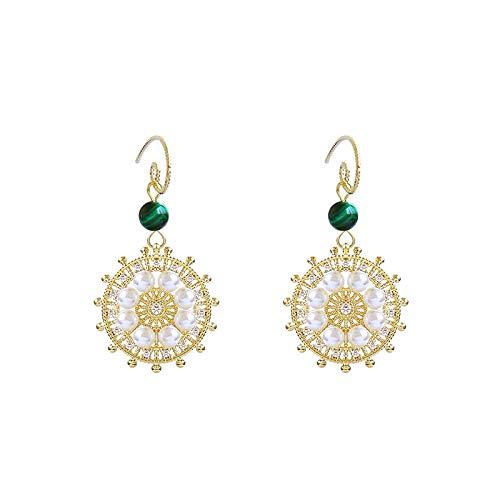 Kompas ontwerp retro parel oorbellen kort ontwerp hoogwaardige smaragd oorbellen oorbellen prachtige vrouwelijke