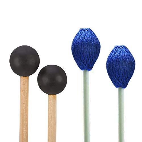 YZNlife Marimba Mallets Glockenspiel Sticks 1 Pair Medium Hard Yarn Head Marimba Mallets and 1 Pair Rubber Mallets Sticks for Percussion Bell Glockenspiel Marimba