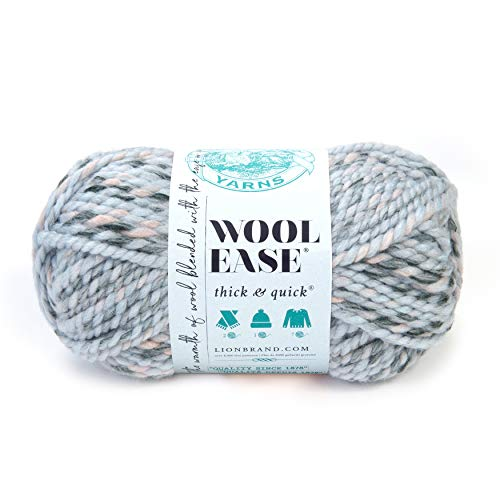 eden crochet hooks Lion Brand Yarn 640-548 Wool-Ease Thick & Quick Yarn, 1-Pack, Artic Ice