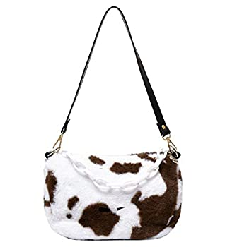 Women Fluffy Faux Fur Cow Print Shoulder Bag Clutch Purse Underarm Handbag Satchel Zipper Tote Bag Purse