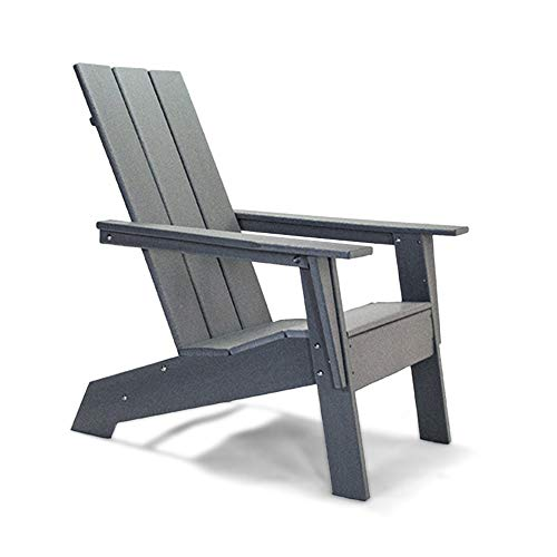 Resin TEAK HDPE Poly Lumber Modern Adirondack Chair | AdultSize Weather Resistant for Patio Deck Garden Backyard amp Lawn Furniture | Easy Maintenance | NEW 2021 Grey