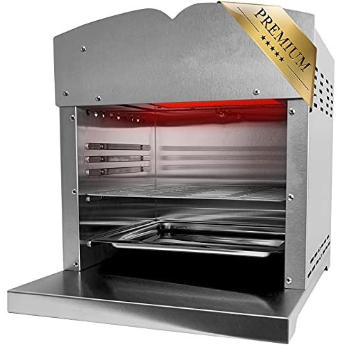 Premium XXL Beef Maker Oberhitzegrill 800°-860° Grad Hochtemperaturgrill Gasgrill mit stufenlos regelarer Keramik/ Infrarotbrenner - 4,4KW - Steak Edelstahl Inkl. Grillrot Schlauch mit Druckminderer