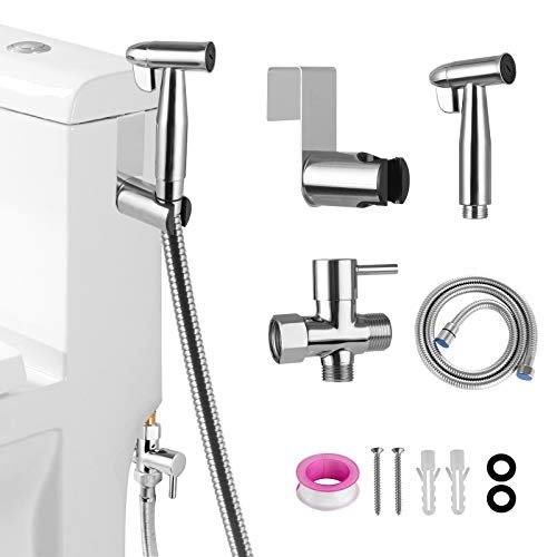 Handheld Bidet Sprayer for Toilet, Adjustable Sprayer, Toilet Handheld Bidet Sprayer kit with 304 Stainless Steel and EPDM Hose, for Personal Hygiene, pet shower, Clean corners