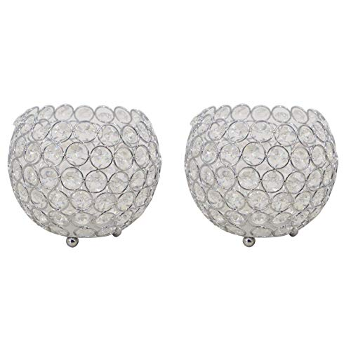 GUOXIANG Portavelas de cristal, juego de 2 portavelas de cristal, decoración de mesa, para velas de té, para bodas, celebraciones, plata (G)