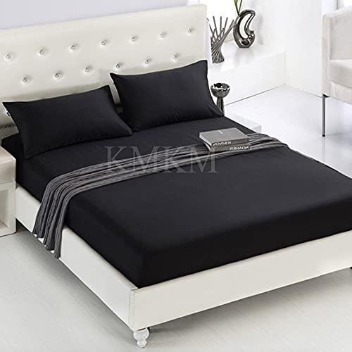 1 unids 100% poliéster sólido colchón de colchón de colchón con Banda elástica Hoja de Cama al por Mayor envío de Gota (Color : Negro, tamaño : Queen 60x80 Inches)