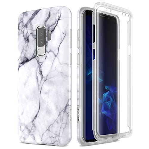 SURITCH Samsung Galaxy S9 Plus Marble Case, [Built-in Screen Protector] Natural Marble Full-Body Protection Shockproof Rugged Bumper Protective Cover for Galaxy S9 Plus 6.2 Inch (Black Marble)