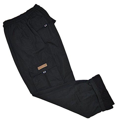thb Richter Thermohose Cargo Fleecefutter Cargohose gefuttert Winter Hose Pants Winterhose Fleece Futter warm gefüttert (XL, Schwarz)