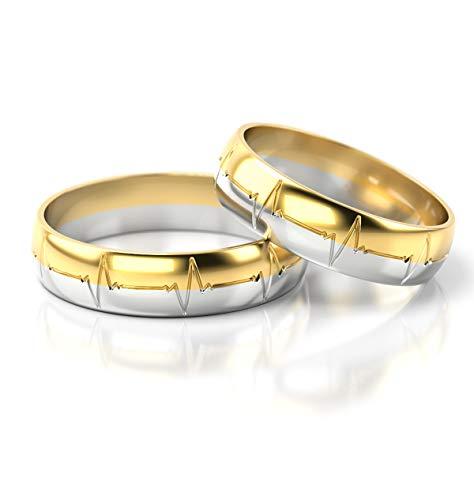 JC Gold Trauringe - Gelbgold Weißgold Herzschlag Eheringe Bicolor inklusive Stein und Gravur im Paarpreis PL257 (14 Karat (585) Bicolor)
