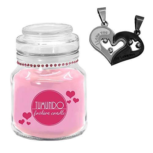 tumundo Fashion Candle Schmuck-Kerze Valentinstag Liebe Love Muttertag Geburtstag Duftkerze Halskette Herz Anhänger, Variante:schwarz