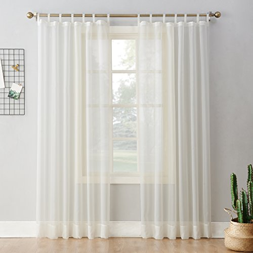 """No. 918 52453 Emily Sheer Voile Tab Top Curtain Panel, 59"""" x 84"""", Eggshell"""