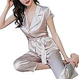 FMOGQ Conjunto De Pijamas De Mujer De Seda De Manga Corta con Botones Ropa De Dormir con Cuello En V Pijamas De Encaje Ropa De Dormir Conjuntos De Pijamas Suaves