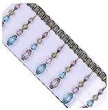 Zeagro Flecos de cuentas de cristal con borlas y apliques trenzados, cinta de jacquard para costura para cortina de mesa, decoración de boda, 1 m