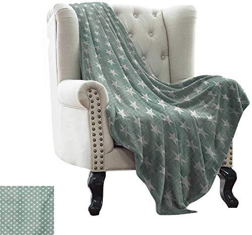 HUA JIE para niños y Adultos Patrón de Estrellas sobre Fondo de patrón de Cuadros en Estilo clásico Impresión de Arte simplista, Tela Suave Gris Verde para sofá sofá fácil