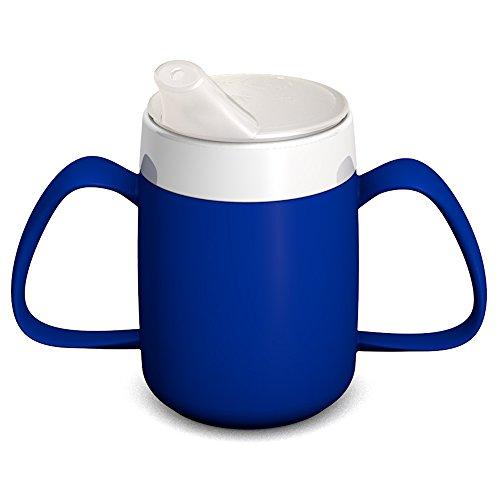 Ornamin 2-Henkel-Becher mit Trink-Trick 140 ml blau mit Schnabelaufsatz (Modell 815 + 806) / Spezial-Trinkhilfe, Tremor-Becher, Schnabelbecher