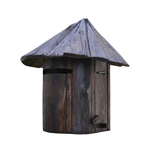Handcraft Wood Outdoor Mailbox, Villa Idyllic Cool Retro Outdoor Creative Home, Gardening Wooden House Mailbox Rainproof