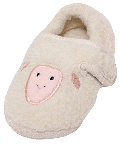 Zapato Kinder Hausschuhe Baby Kleinkinder Puschen Plüschschuhe Soft Schuhe Slipper mit Noppen Gr. 22-25 Schaf LAMM (24)