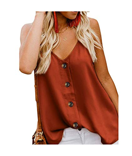 Buauty Womens Button Down Tank Tops Casual Loose V Neck Spaghetti Strap Sleeveless Camis Shirts Blouses Orange