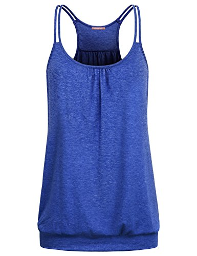 NEWMEEN Blevonh Women's Scoop Neck Spaghetti Strap Racerback Workout Cami Tank Tops (Blue, X-Large)