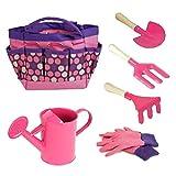 Jardinería niños Conjunto de herramientas con guantes Pala Rastrillo de la bolsa de asas del jardín al aire libre Accesorios y juguetes de aprendizaje Todo en un kit rosa 1Set Productos para el Hogar