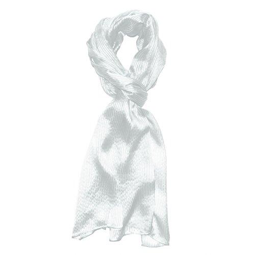 Lorenzo Cana Luxus Herren Seidenschal aufwändig gewebt mit feinen Satinstreifen leichter eleganter Schal 100% Seide 50 cm x 190 cm Schaltuch Männerschal weiss 8910411