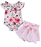 Newborn Baby Girl Clothes Flare Sleeve Romper + Floral Short Pants 2pcs Summer Outfit Set 12-18 Months Pink