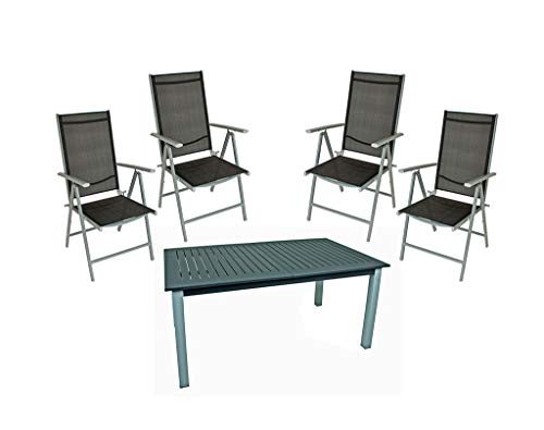 Gravidus 5-Piece Table Set with Extendable Table up to 220 cm