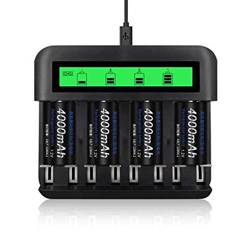 CITYORK 4pcs C Cell 4000mAh Rechargeable Batteries with 8 Slot AA/AAA/C/D...