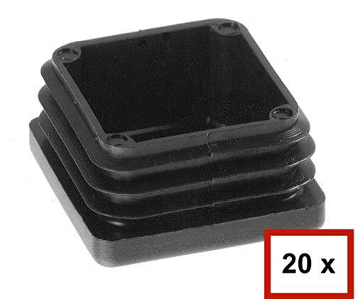 20 Stück Quadrat-Rohrstopfen, Lamellenstopfen Rohraußenmaß: 30x30mm, Rohrwandstärke: 3mm, Schwarz, Möbelgleiter, Schutzkappen, Zaun, Pfosten, Quadratstopfen