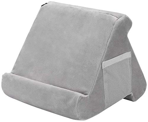iPad Tablet Stand Pillow Holder - Multi-Angle Soft Tablet Pillow for Lap, Knee, Sofa and Bed - Universal Phone & iPad Stands for eReaders, Magazines, Kindle (gray with pocket)