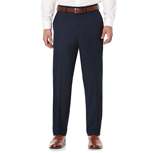 Savane Active Flex Tailored Fit Stretch Flat Front Men's Dress Pants (33W x 32L, Navy)