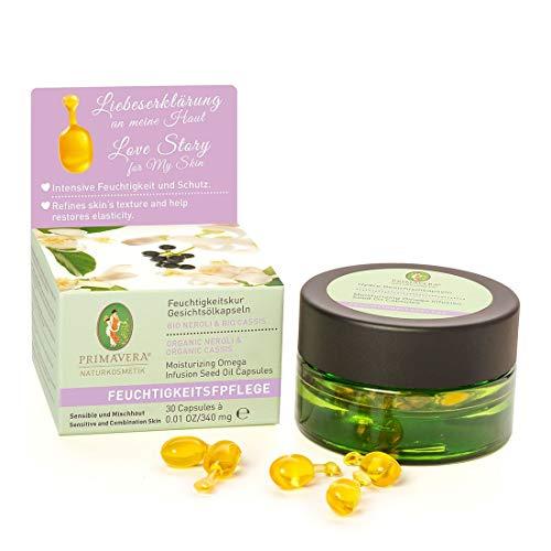 PRIMAVERA Feuchtigkeitspflege Feuchtigkeitskur Gesichtsölkapseln Neroli Cassis 30 St. - Naturkosmetik - feuchtigkeitsbewahrend und schützend für sensible Haut und Mischhaut - vegan