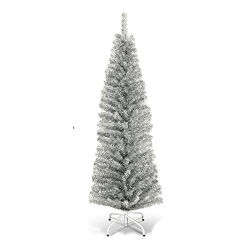 Silver 6FT Slim Pencil Christmas Tree With Metal Stand And 520 Branch Tips Lush And Dense Leaves Giving Realistic Appearance Perfect For Home Courtyard Or For Commercial Place Use Holiday Home Decor